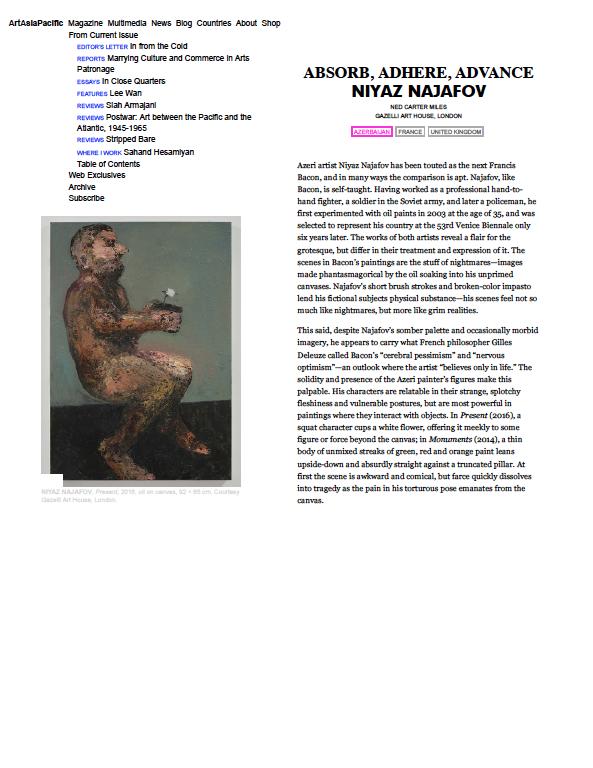NIYAZ NAJAFOV | ART ASIA PACIFIC | MAY 2017