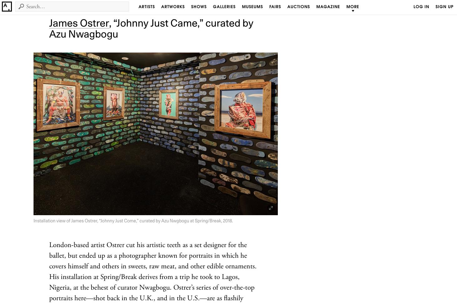 JAMES OSTRER   ARTSY   MARCH 2018