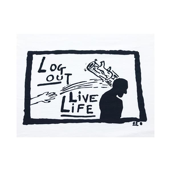 Derek Boshier Log Out Live Life T-shirt - White