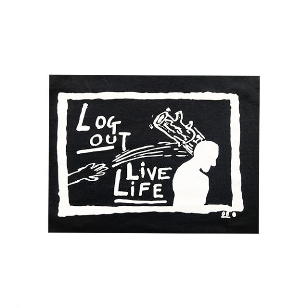 Derek Boshier Log Out Live Life T-Shirt - Black