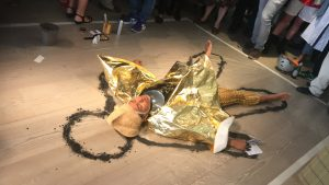 "Khaleb Brooks performing alongside the group show ""It's Not Me, It's You"", Gazelli Art House London, 2019."
