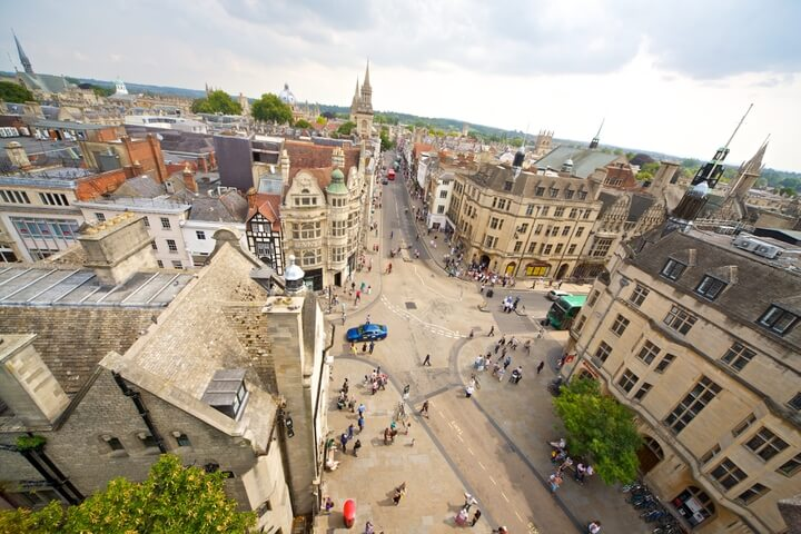 Arial shot of Oxford City Centre