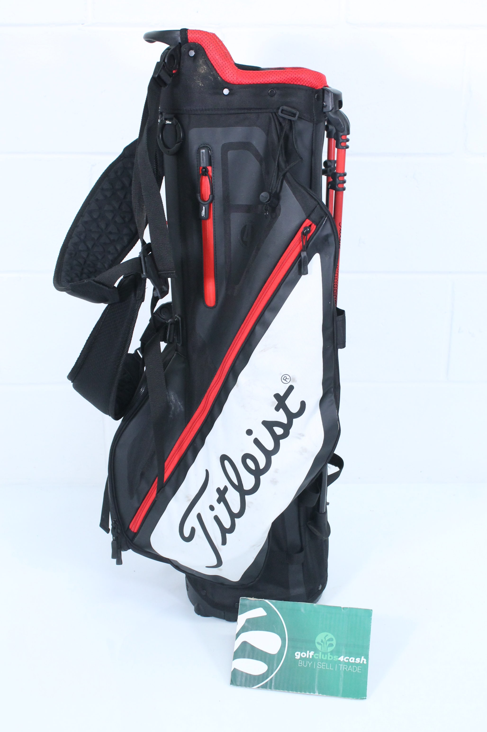 cc6d62853e TITLEIST PLAYERS 4 STAND BAG / BLACK RED WHITE / 4-WAY DIVIDER ...
