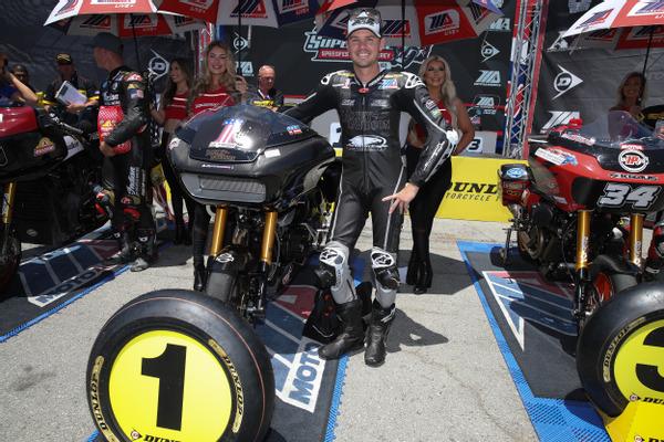 Factory Harley-Davidson rider, #33 Kyle Wyman, won the MotoAmerica King of the Baggers race and championship title at Laguna Seca Raceway.