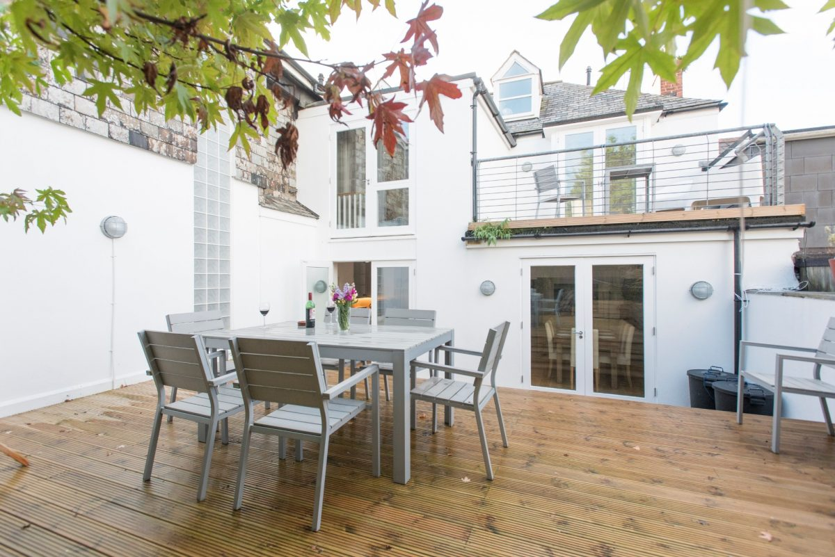 Outside deck at Padstow holiday home