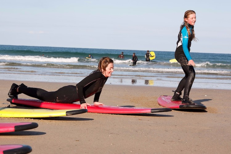 Surf lesson at Harlyn Bay in North Cornwall