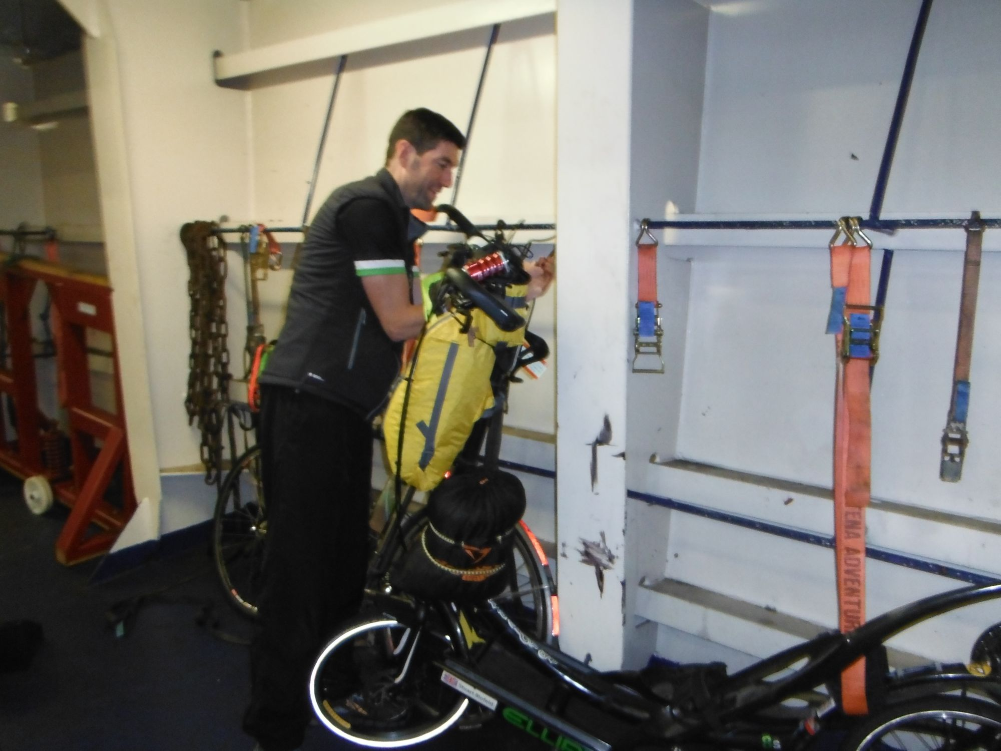 Securing bikes on ferry to Dublin