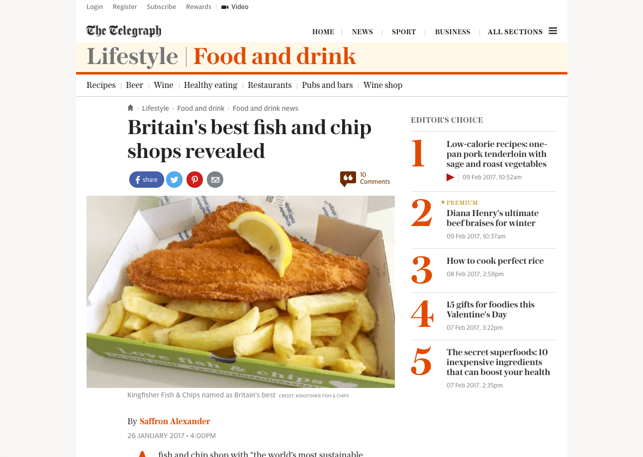 """fish and chip shop with """"the world's most sustainable seafood menu"""" has been named the best chippy in Britain."""
