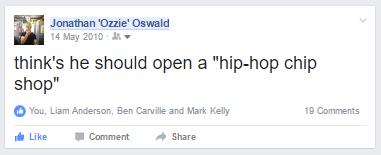 "Jonathan 'Ozzie' Oswald thinks he should open a ""hip-hop-chip-shop"""