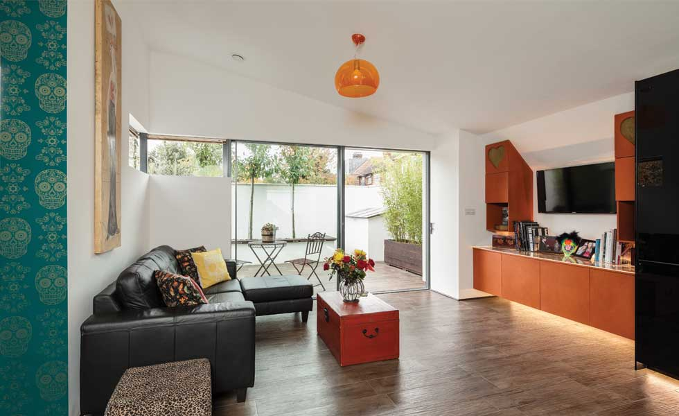 living space in a home built with accessibility in mind