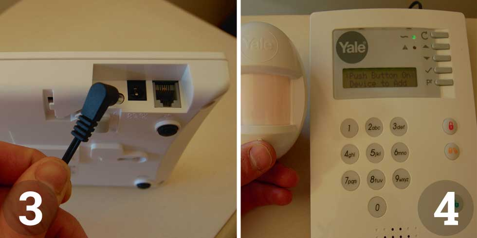 Set the control panel up near a mains socket and plug it in; Press the test button on each device, the control panel will respond with a beep and a readout showing the device added