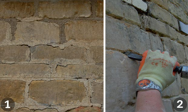 Repointing a wall: Steps 1 and 2