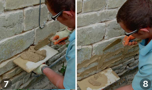 Repointing a wall: Steps 7 and 8