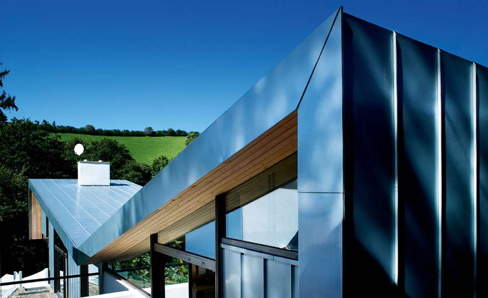 Butterfly roof on a contemporary home