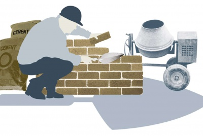 Illustration of a builder laying bricks