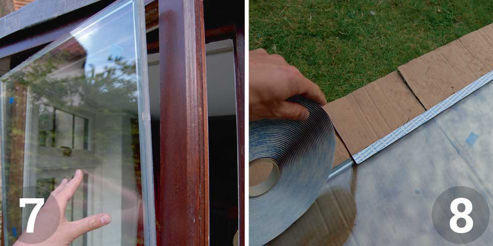 Trial fit the replacement double glazed unit in the window aperture; Once you're happy with the fit of the unit it's time to tape it up