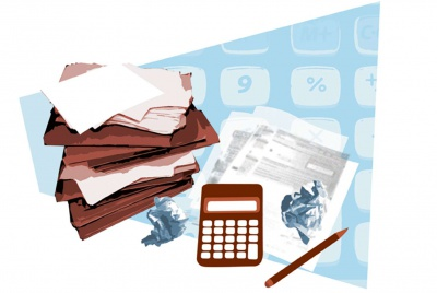 Illustration of calculator and paperwork