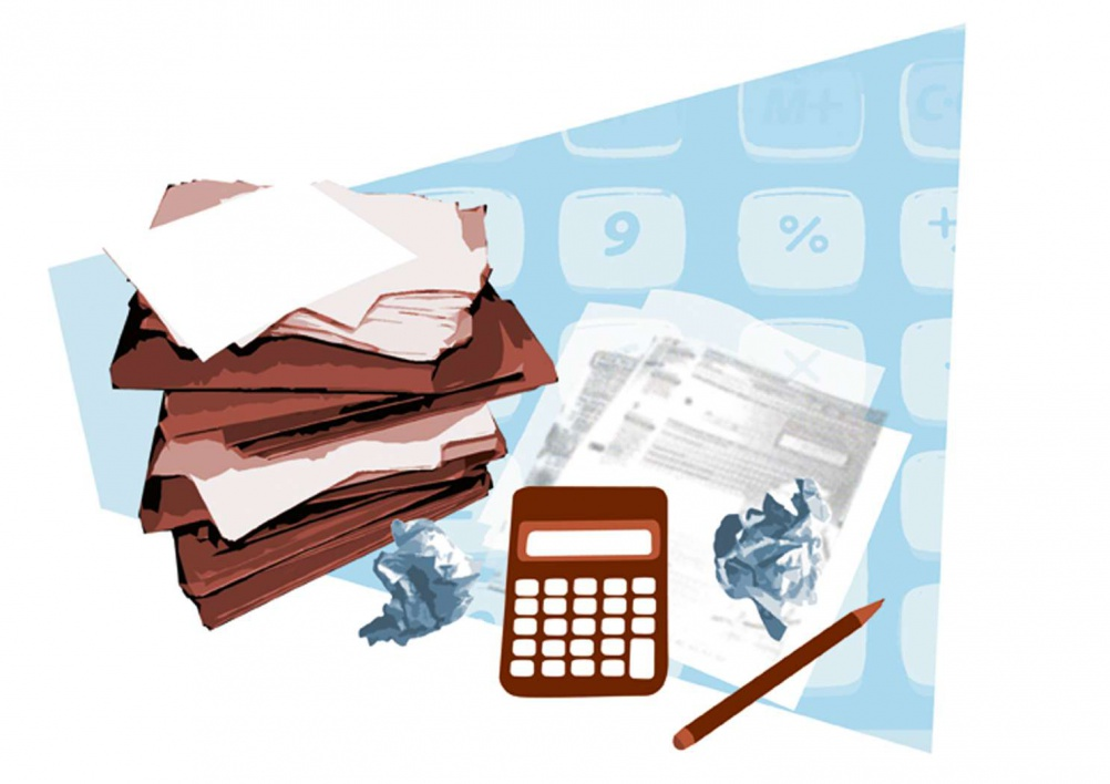 Illustration of a calculator and paperwork