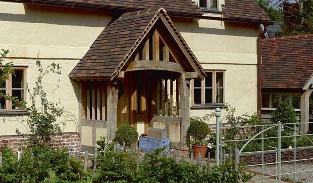 A timber frame porch