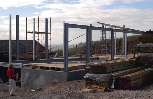 Erecting the steel frame structure