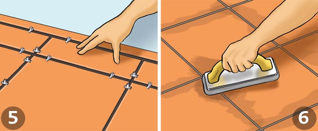 How to tile your floor homebuilding renovating continue laying tiles along both reference lines once these are in place continue to fill the entire area youre working use tile spaces to ensure even ppazfo