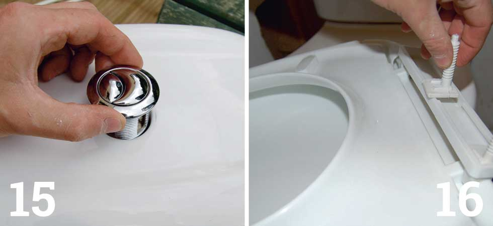 Push the flush button through the cistern lid; Assemble, fit and tighten the toilet seat