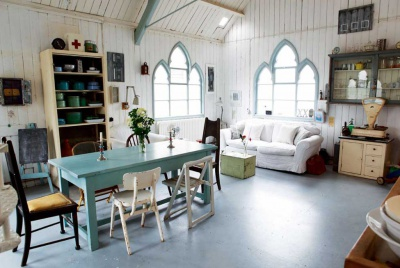 Interior of a converted tin chapel