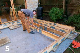How to install decking homebuilding renovating for Garden decking framework
