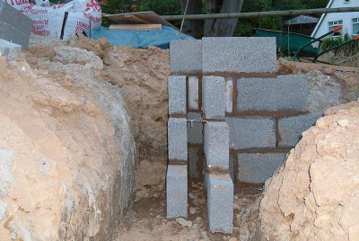 close up of a foundation with concrete blocks