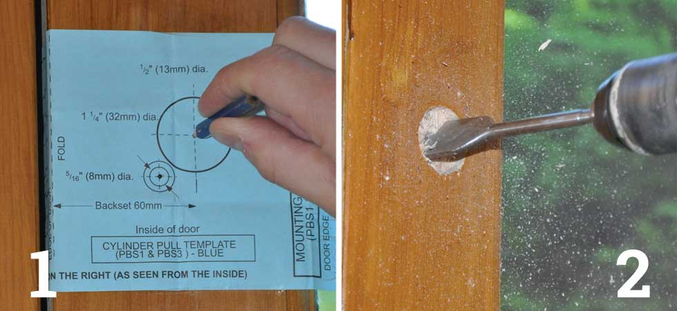 Line up the template with the edge of the door and use a pencil to spot through the three holes indicated; At the centre mark, drill a 32mm hole for the lock barrel