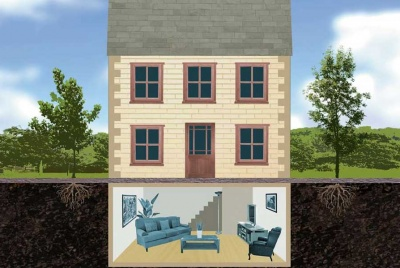 Illustration of a house with a basement