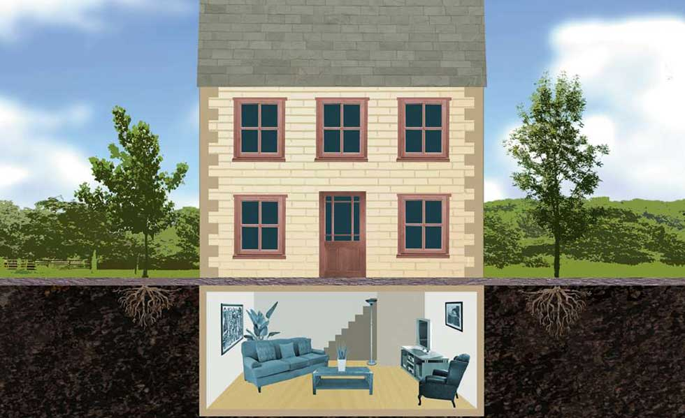 Basement Construction Ideas To Strengthen Your Basement Illustration of a house with a basement