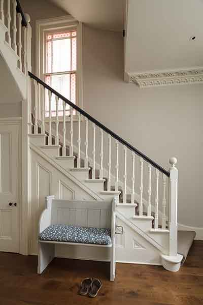 Painted Victorian timber staircase