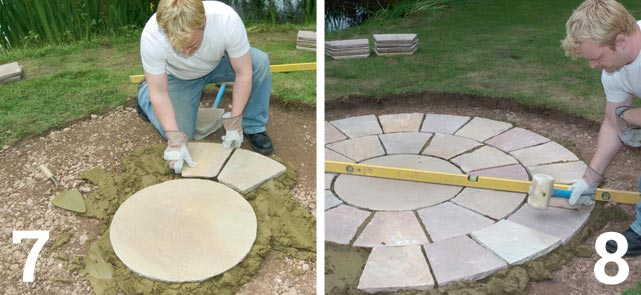 Starting at the centre, lay each concentric circle in turn; Check with a spirit level