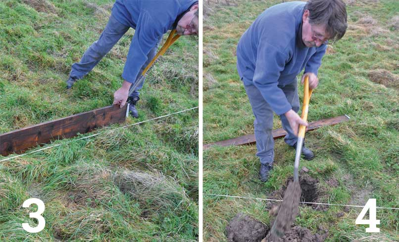 Mark out the position of the remaining post holes; Dig out the remaining post holes