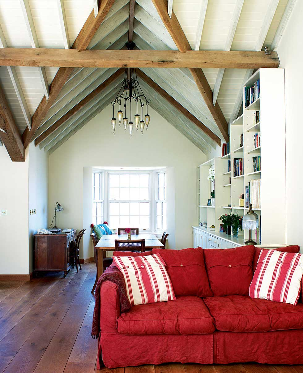 high ceilings in the first-floor living room