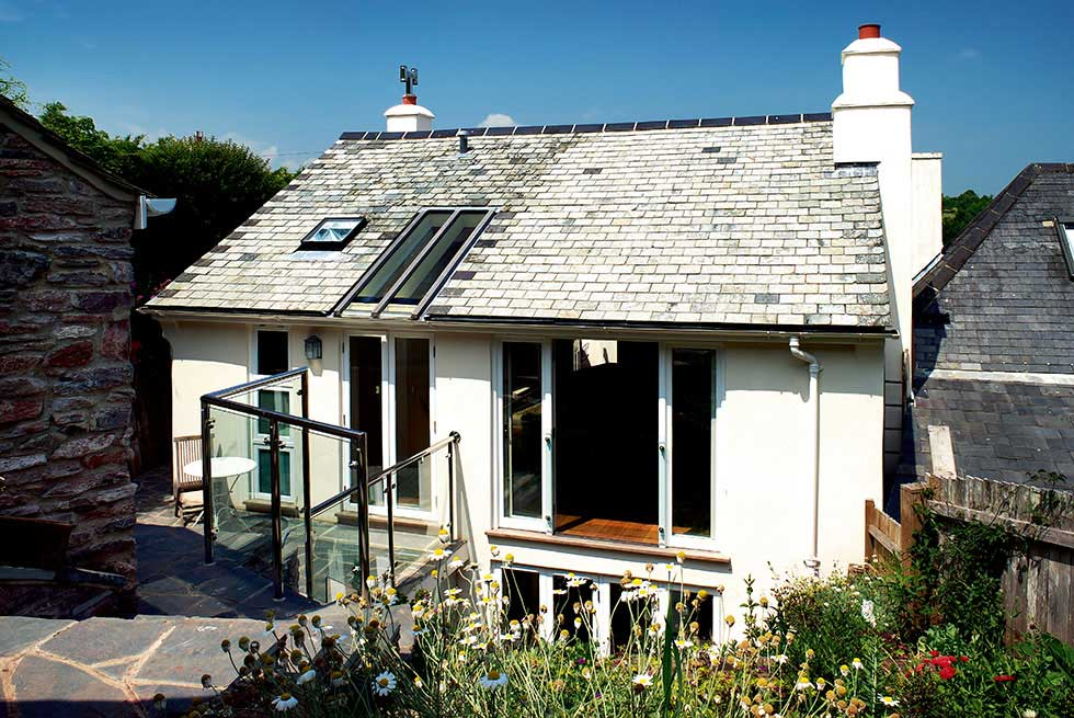 The rear of a self build cottage in Devon