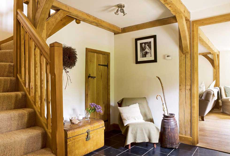 Exposed oak beams in a hallway
