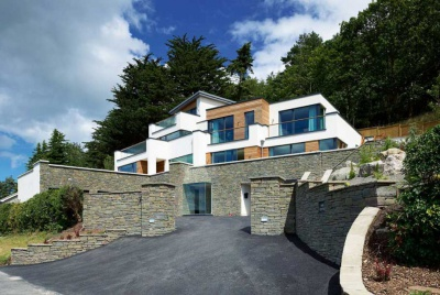 A contemporary home built into the hillside