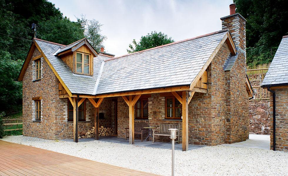 slate roof stone and veranda cottage