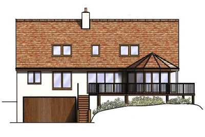 drawing of the property on a sloping site