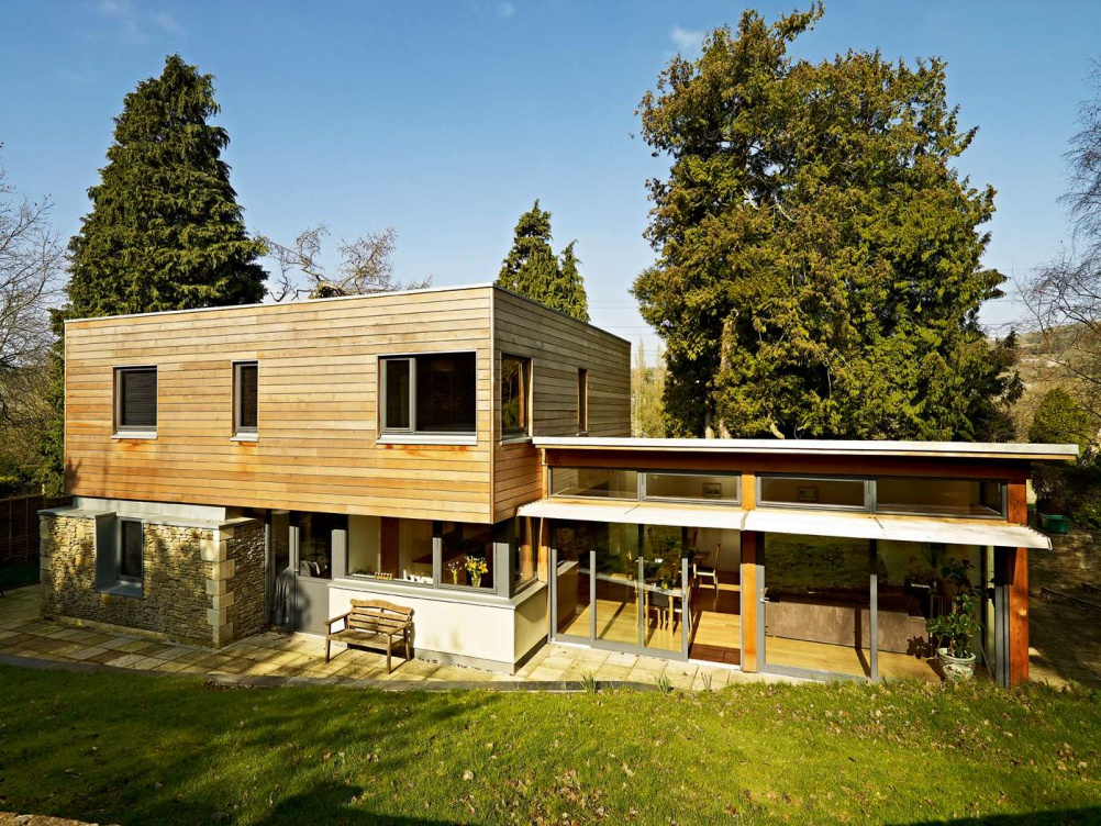 photograph of exterior view of cedar clad property
