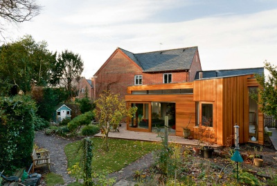 photograph of the exterior to this modern extension