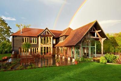 barn-style oak frame house