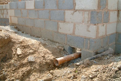 Drainage pipe in house foundations