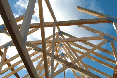 roof trusses against the sky