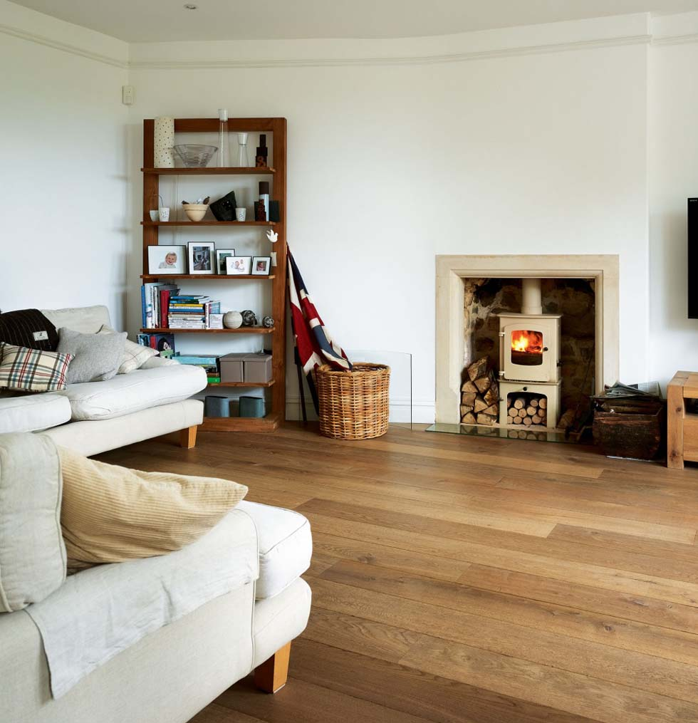 Thompson Villa living room with woodburner