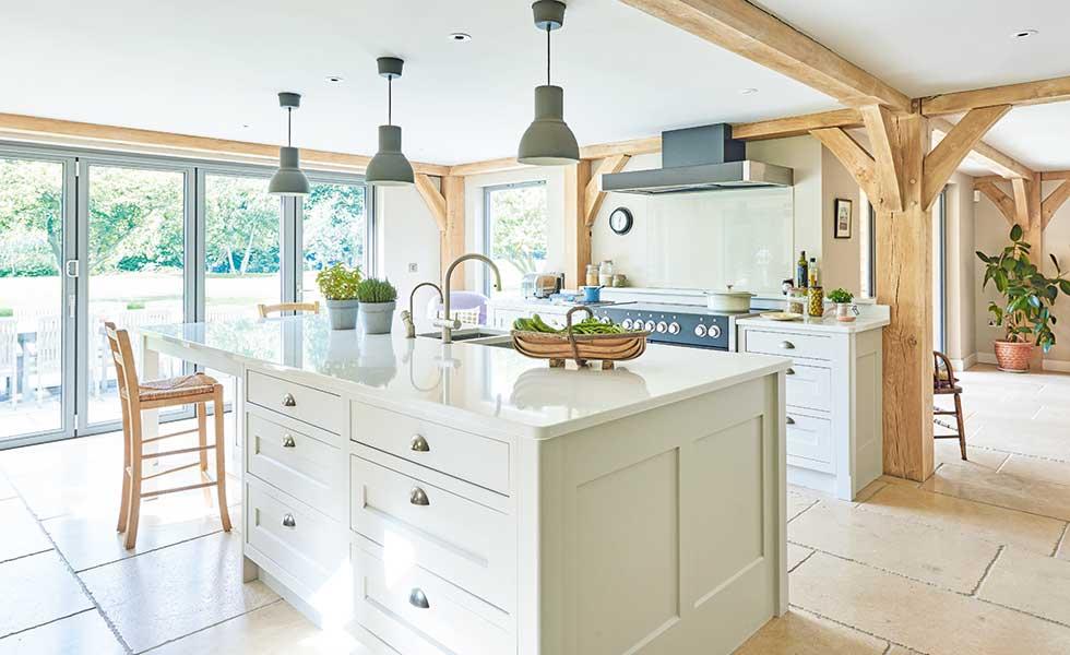 broken plan kitchen in oak frame self build