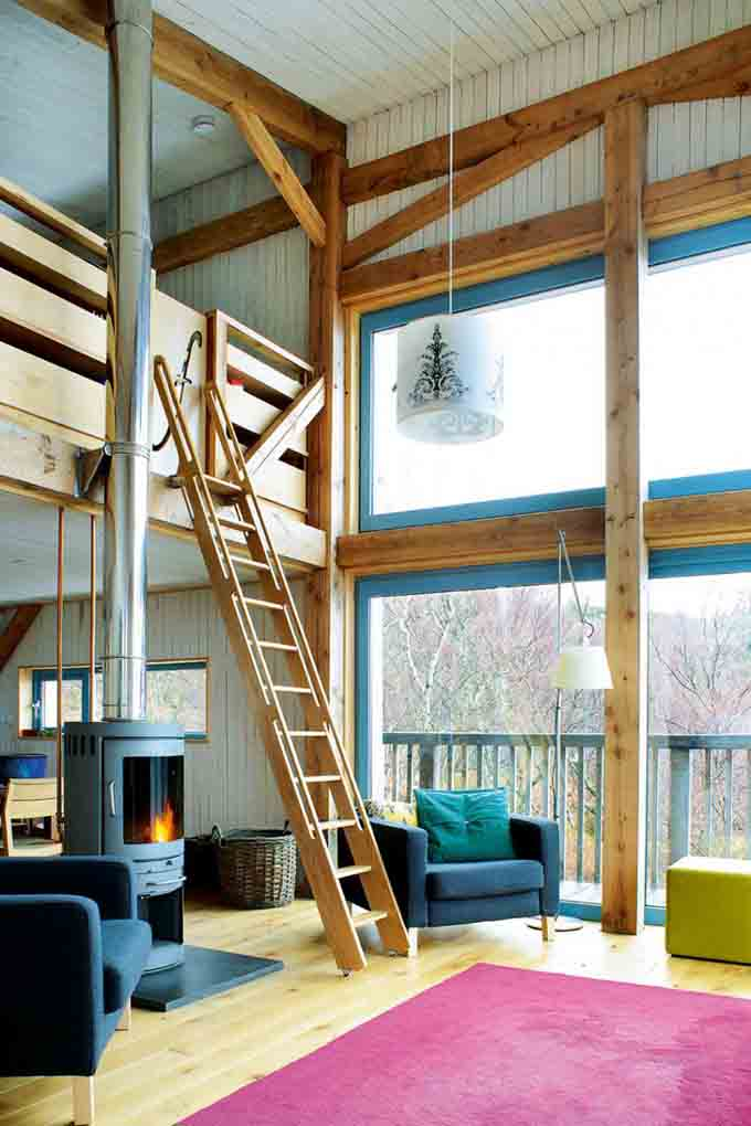 double height living space in timber frame longhouse