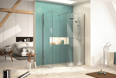 Glass walk in shower